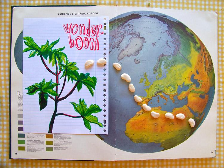 met stiften op lijntjespapier, wonderboom en atlas
