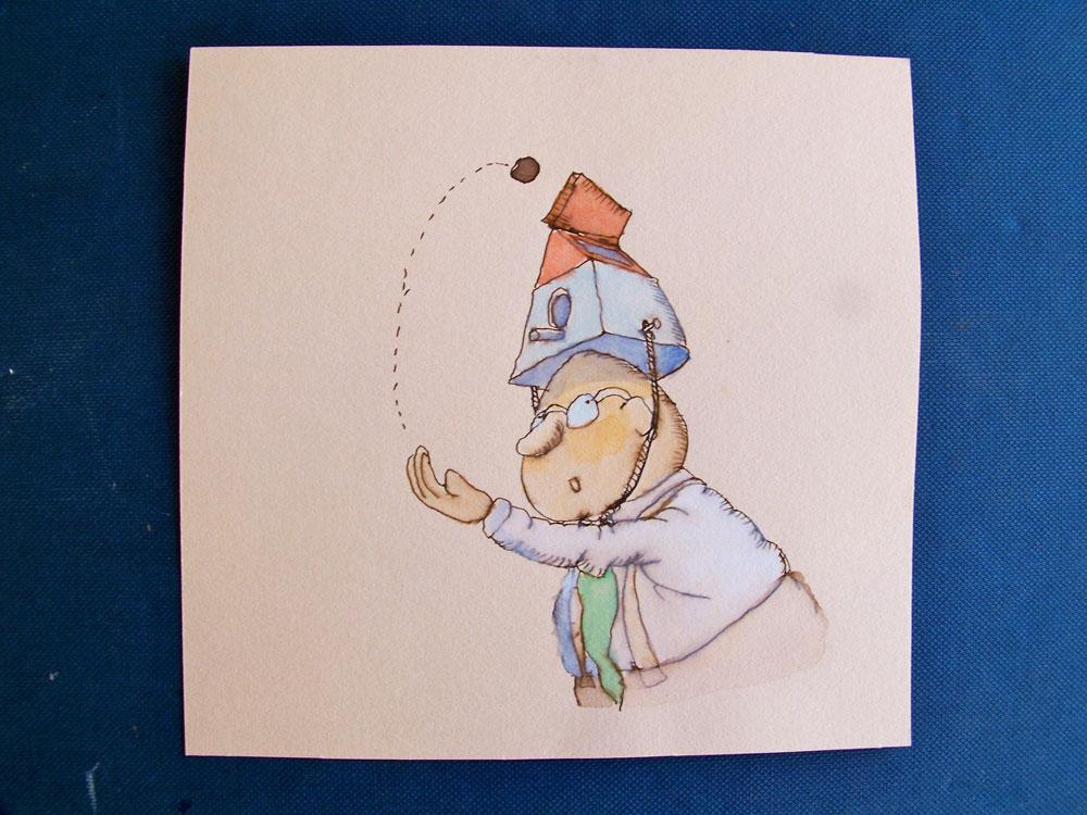meneer Bril met vogelhuisje op het hoofd, foto-illustratie