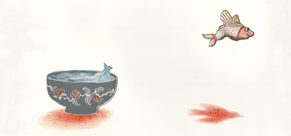 Illustratie van een vis die gaat vliegen.