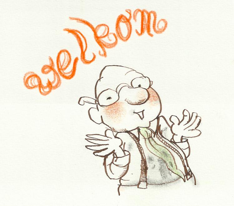 meneer Bril tekening met oranje welkom