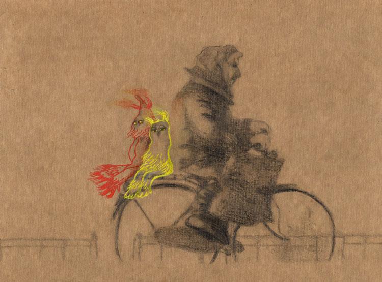 Tekening van oude vrouw op fiets, met twee gasten achterop.