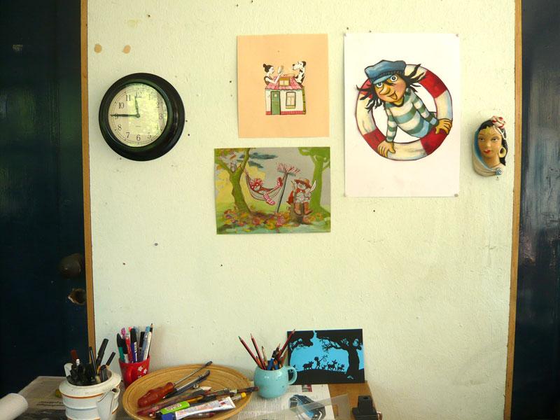 foto, tekeningen, klok, atelier