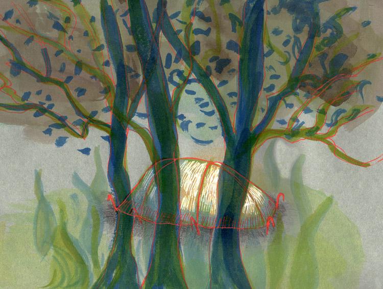 tekening, donker, tent, bomen