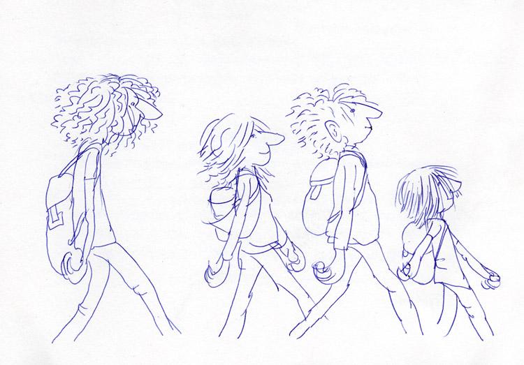 wandelen, tekening, pen, stripfiguren