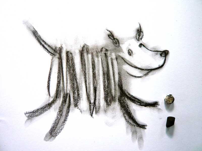 hondje, houtskool, inspiratie, hond