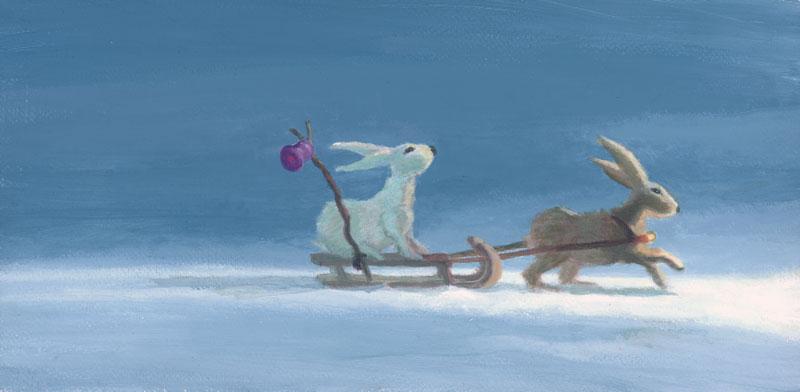 kerst, kerstkaart, slee, konijnen
