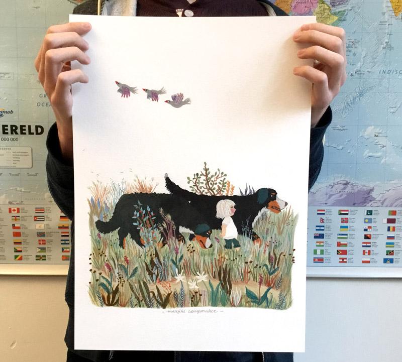 poster met Berner Sennenhonden