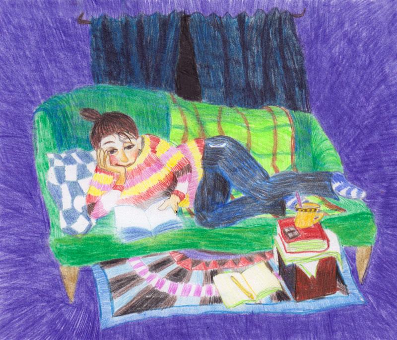 lezende vrouw, potloodtekening