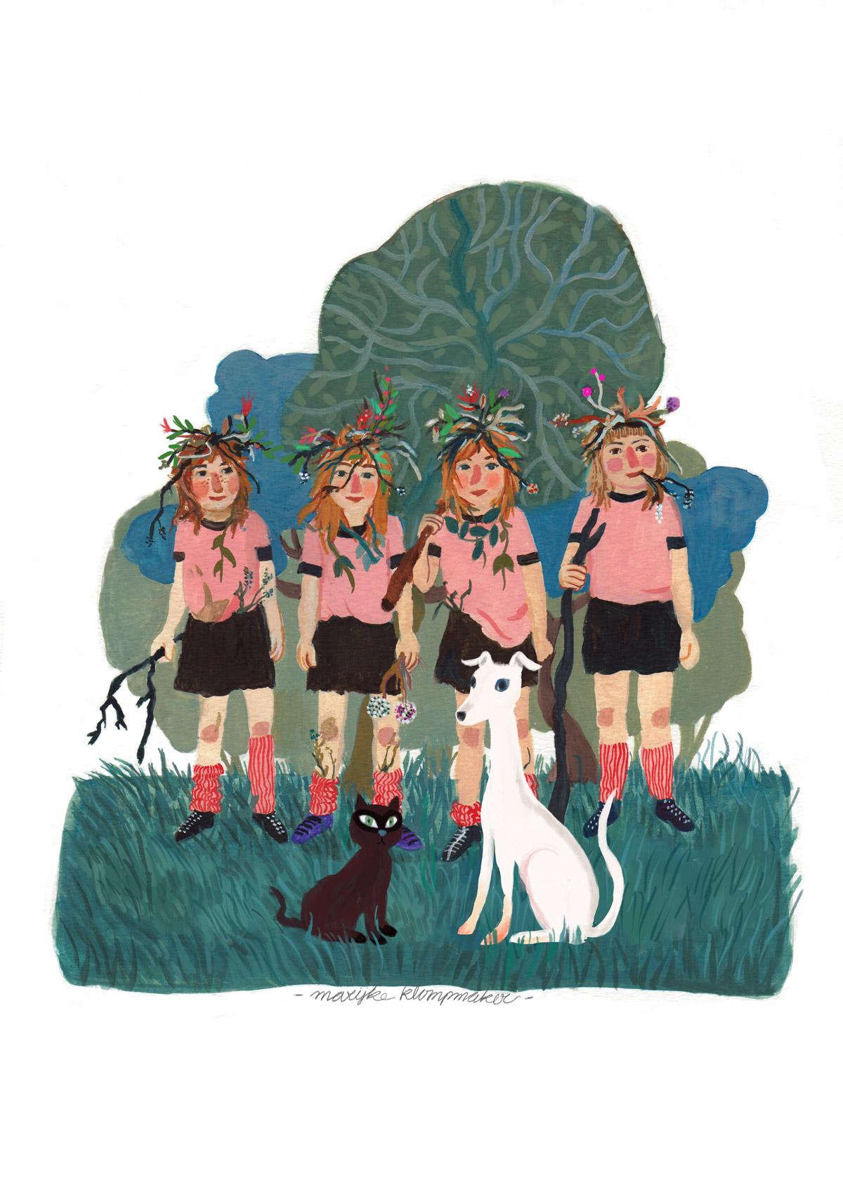 Vier bosmeisjes met hond en kat, schilderij