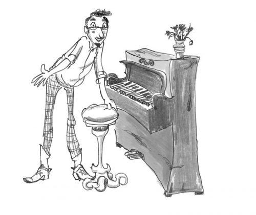 zwart-wit illustratie van de pianoleraar
