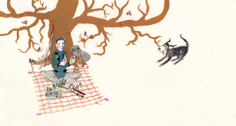 Illustratie van De Speelman onder de boom