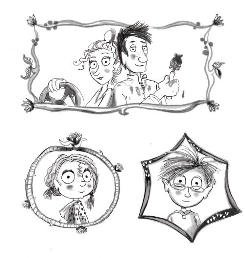 zwart-wit illustraties, portretjes