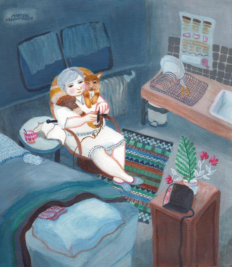 blauw schilderij vrouw en kat