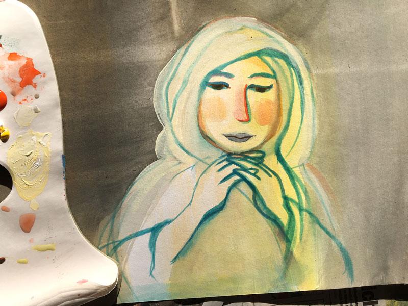 tekening van zuster Bertken