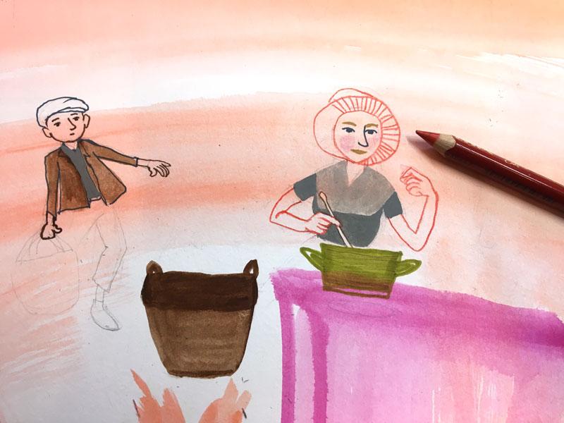 tekening in warme kleuren