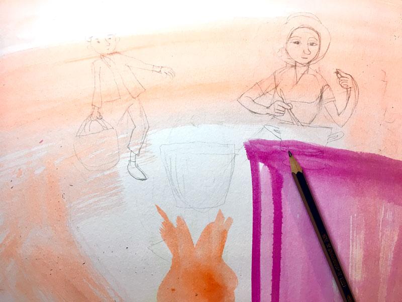 tekening met warme kleuren