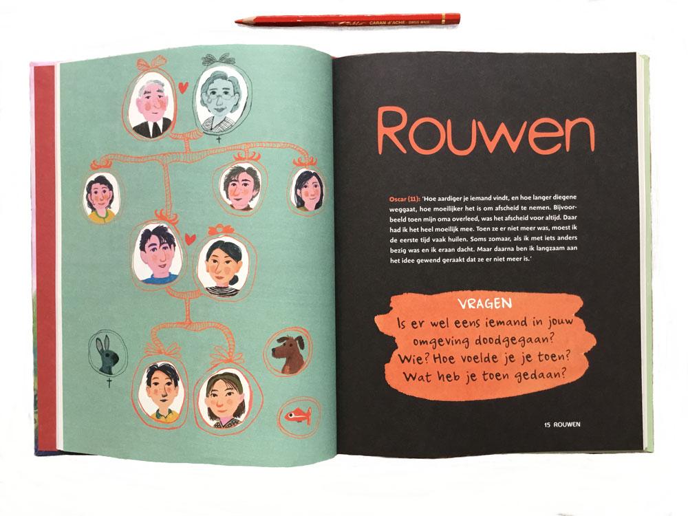 boekpagina over rouw voor kinderen