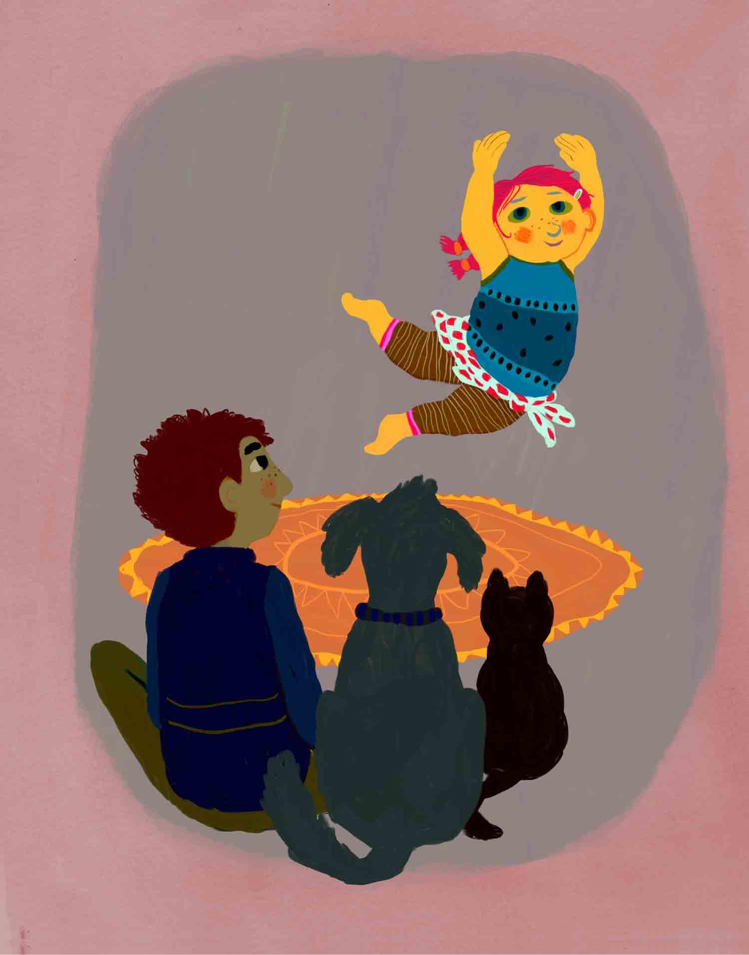 illustratie van dansend dik meisje met bewonderend publiek