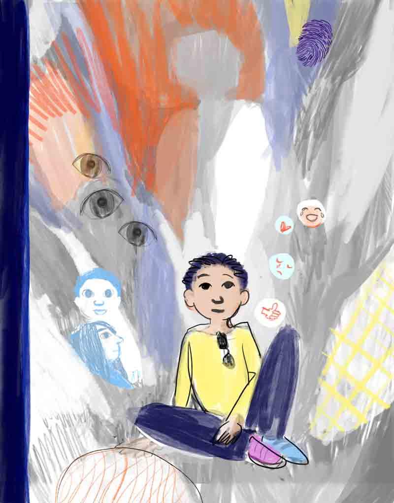 kind zittend, schetsmatig