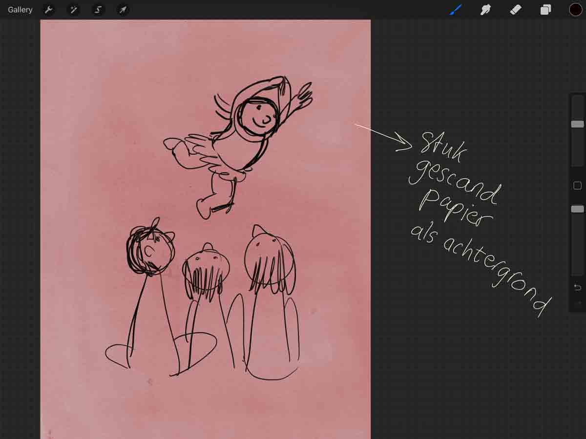 schets van dansend dik meisje op roze achtergrond