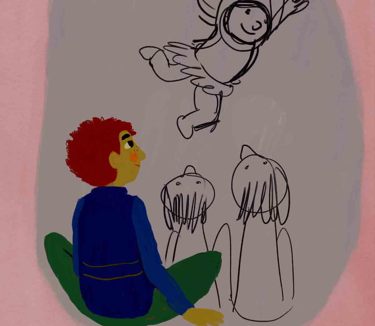tekening van jongen die naar dansend zusje kijkt