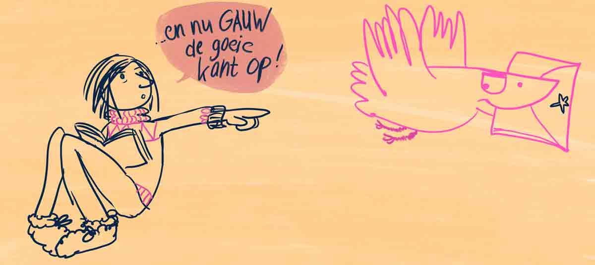 striptekening van een vrouw die een postduif op pad stuurt