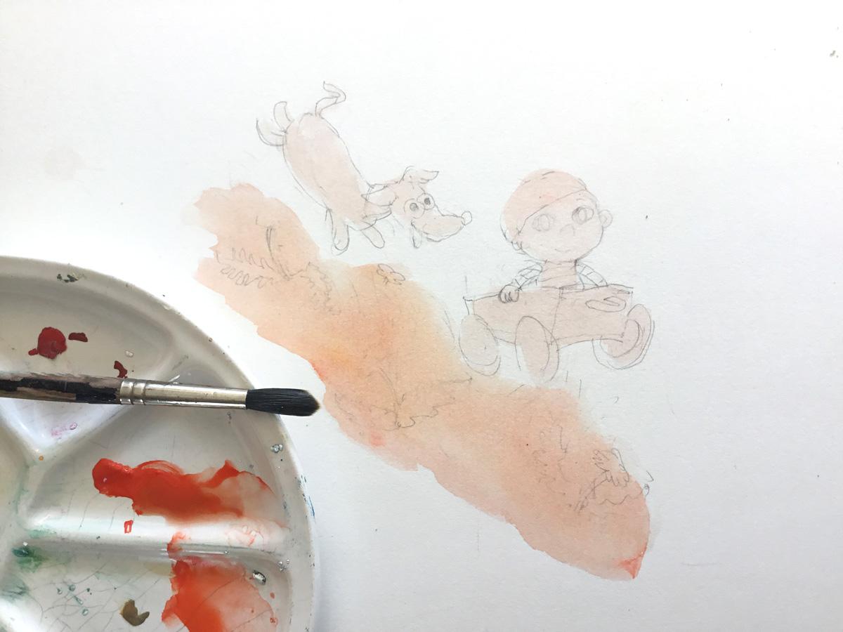 tekening van geboortekaartje in beginstadium