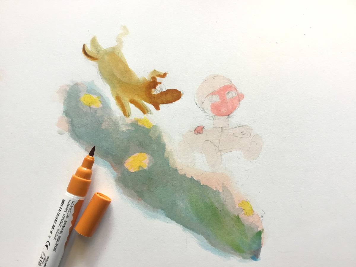 tekening voor babykaartje halverwege af