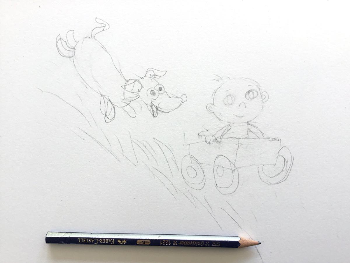 schets baby in karretje met hond erachteraan