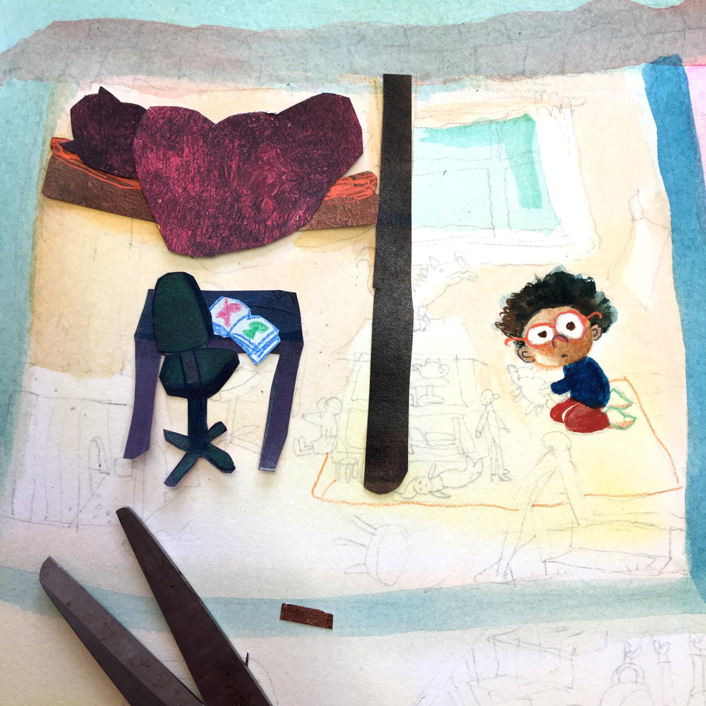 Foto van tekening meisje in slaapkamer