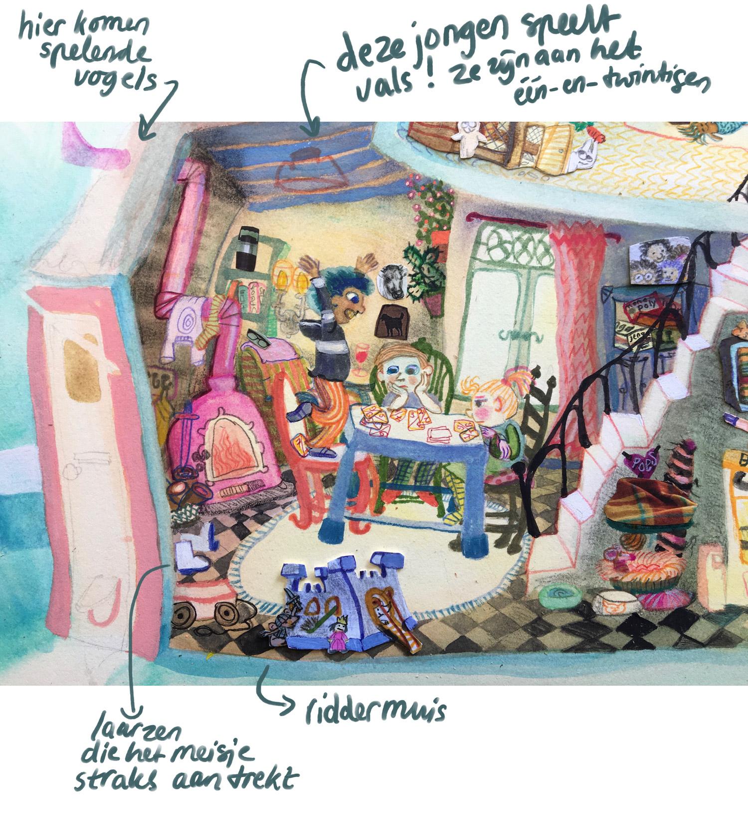 detail van een tekening in zoekboek, een jongen die vals speelt